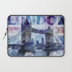 London Tower Bridge mixed media Art and Typography Laptop Sleeve