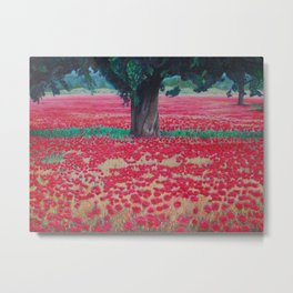 Olive Tree in Poppy Field Metal Print
