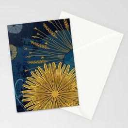 Navy floral background Stationery Cards