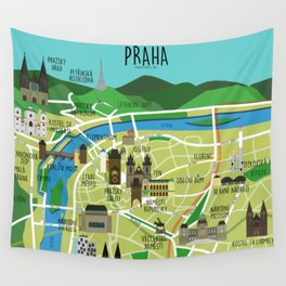 Prague map illustrated Wall Tapestry