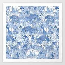 chinoiserie toile blue Art Print