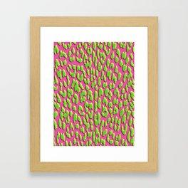 Bright Pink & Green Leopard Print Framed Art Print