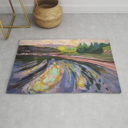 Edvard Munch - Morning Waves Against the Shore of the Coast nautical landscape painting Rug