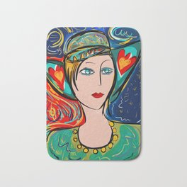 Pop Girl Art Deco with Hat and hearts Bath Mat