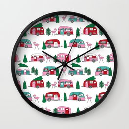 Camper vacation christmas road trip tropical home away from home pattern Wall Clock