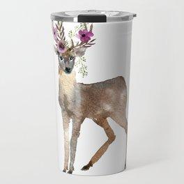 Boho Chic Deer With Flower Crown Travel Mug