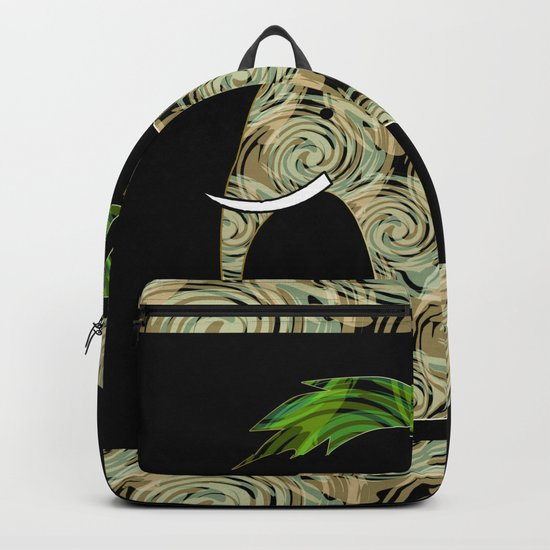 Elephant under a palm tree . Backpack