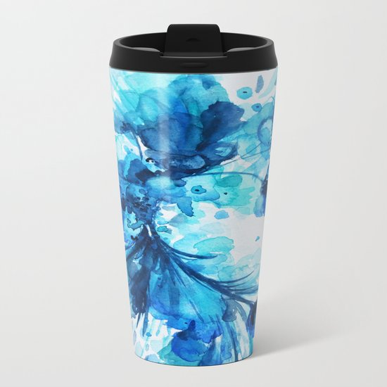 Blue Watercolor Floral Metal Travel Mug