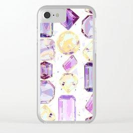 Crystal Gems Stripe Clear iPhone Case