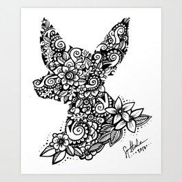 Mandala Dog Mini Art Print