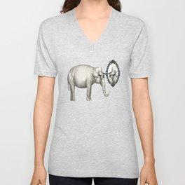 Elefante con gafas, se mira en el espejo Unisex V-Neck