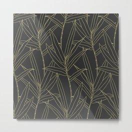 Elegant bamboo foliage gold strokes design Metal Print