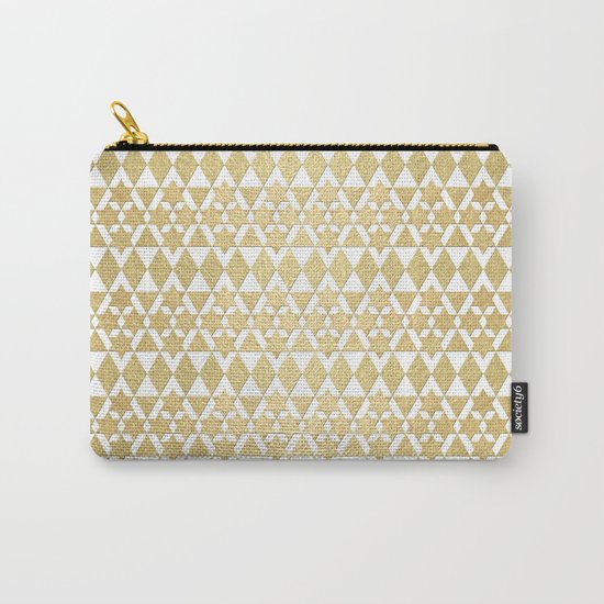 White and Gold Geometric Pattern 4 Carry-All Pouch