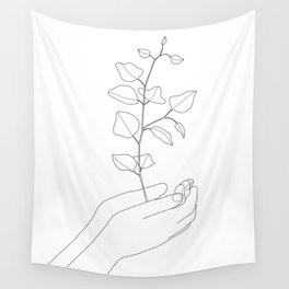 Minimal Hand Holding the Branch II Wall Tapestry