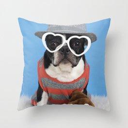Little Shit Boston Terrier Throw Pillow