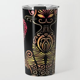 Tribal Cat on Back Travel Mug