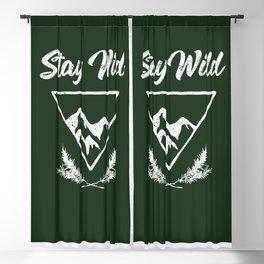 stay wild typography mountain print Blackout Curtain