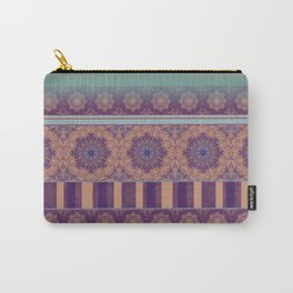 Purple Teal Orange Boho Mandala Tile Ombre Mixed Pattern Carry-All Pouch