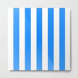 Dodger blue - solid color - white vertical lines pattern Metal Print