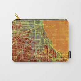 Chicago Illinois old map year 1947, vintage usa maps, colorful art Carry-All Pouch