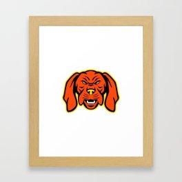 Hungarian Vizsla Dog Mascot Angry Framed Art Print