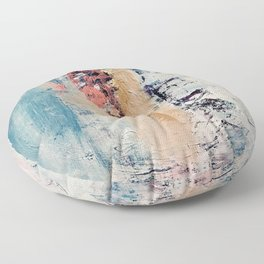 Artemis: A pretty, minimal, abstract mixed media piece in blue, gold, pink, purple, and white Floor Pillow