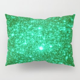 Emerald Green Glitter Stars Pillow Sham