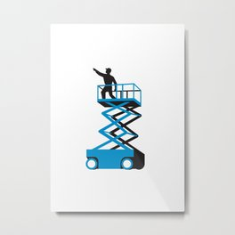 Scissor Lift Worker Pointing Retro Metal Print