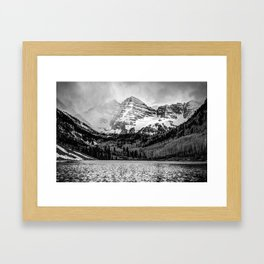Maroon Bells Cloudy Mountain Landscape - Black and White Wall Art Framed Art Print
