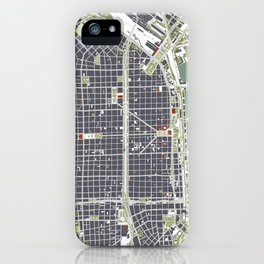 Buenos aires city map engraving iPhone Case