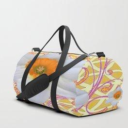 WHITE DAFFODILS DELICATE VIOLET SCROLLS ART  PATTERN Duffle Bag