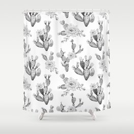 Cactus Rose Garden Black and White Shower Curtain