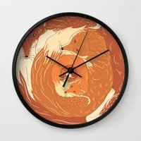 foxes Wall Clocks featuring Foxes by Beesants