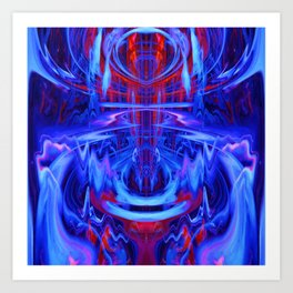 Mystical Blue and Red Fountain Art Print