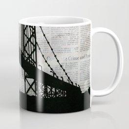 Paper City, Newspaper Bridge Collage Coffee Mug