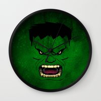monster inc Wall Clocks featuring Monster Green by Inara