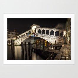 VENICE Rialto Bridge at Night Art Print