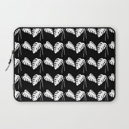 Tropical Monstera Leaves White on Black Laptop Sleeve