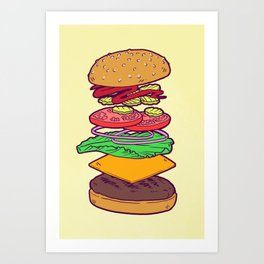 Vegan Burger Anatomy (No Words) Art Print