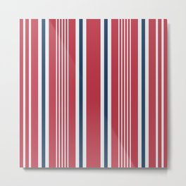 Classic red nautical mixed stripes pattern Metal Print