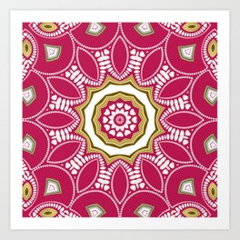 Geometric Mandala - Deep Pink Red Art Print