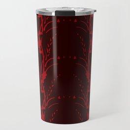 Red on Red Floral Stripe Travel Mug