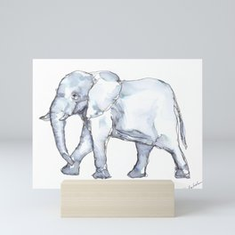 Elephant Watercolor in Tones of Blue and Gray Mini Art Print