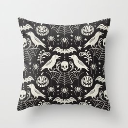 All Hallows' Eve - Black Ivory Halloween Throw Pillow