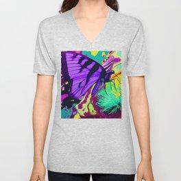 Purple butterfly beauty 1 Unisex V-Neck
