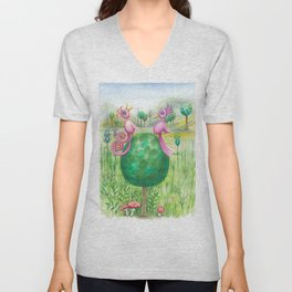 2 cute pink birds in a tree Unisex V-Neck