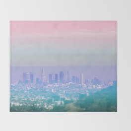 Los Angeles Scenic Southern California Landscape Colored Sun Haze Wall Art Print Throw Blanket