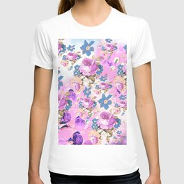 ROSES GIRLY PINK PURPLE AND BLUE FLOWER PATTERN T-shirt