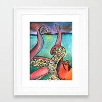 kraken Framed Art Prints featuring Kraken by Indigo22