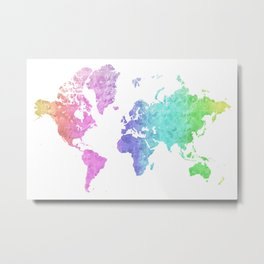 """Rainbow world map in watercolor style """"Jude"""" Metal Print"""